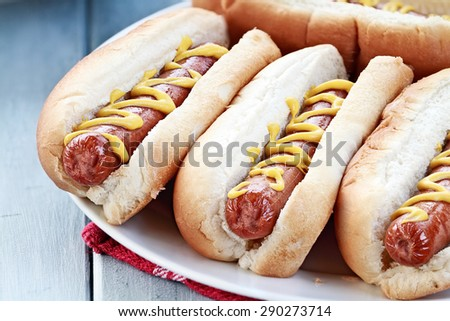 Plate of freshly grilled hotdogs with mustard. Extreme shallow depth of field.