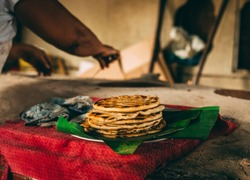 Plate of handmade Costa Rican tortillas