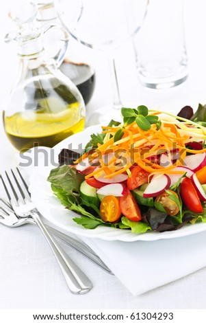 Plate of healthy green garden salad with fresh vegetables #61304293