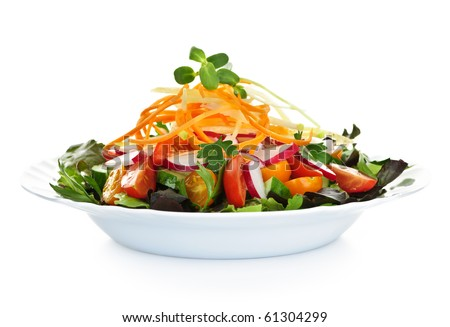 Plate of healthy green garden salad with fresh vegetables on white background #61304299