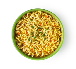 Plate of instant noodles on white background. Top view.