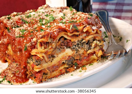 Plate of lasagna at an Italian restaurant