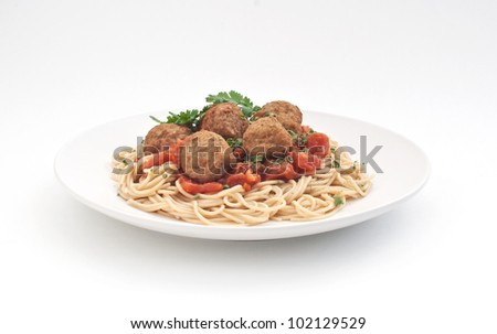 Plate of meatballs with spaghetti and tomato sauce
