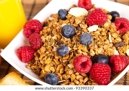 plate of muesli with fresh berries