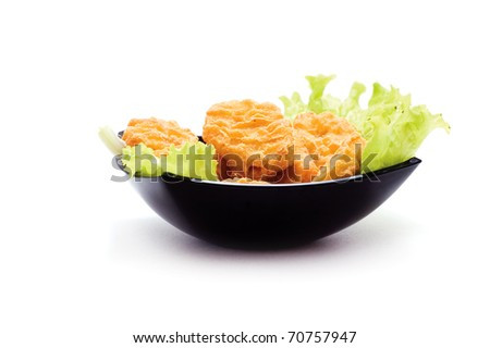 plate of nuggets with dip isolated on white background