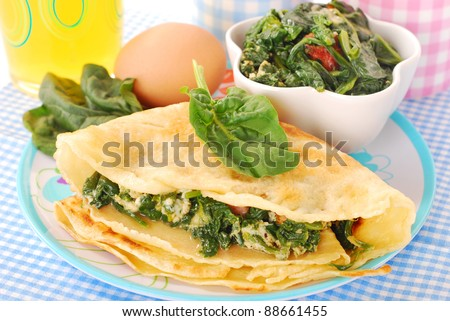plate of pancakes stuffed with spinach ,bacon and eggs