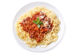 plate of pasta bolognese isolated on white background, top view