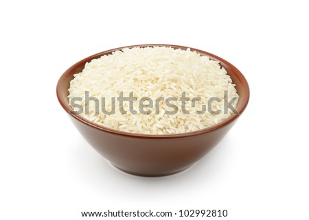 plate of rice isolated on a white background