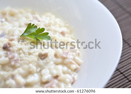 Plate of risotto.focus on parsley garnish
