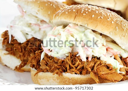 Plate of Slaw burgers with shallow depth of field. - stock photo