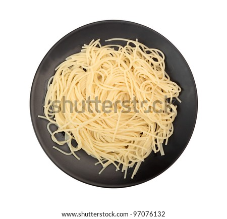 Plate of Spaghetti. Isolated with clipping path.
