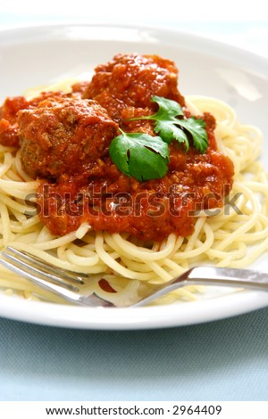 Plate of spaghetti with meat ball in rich tomato sauce.
