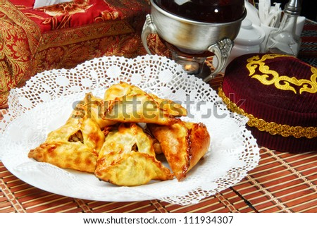 Plate of traditional eastern food samsa.