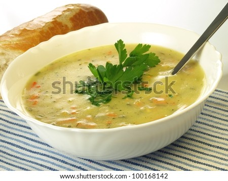 Plate of vegetable soup on isolated background