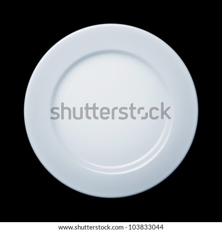 Plate on black background with path