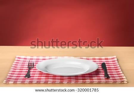 Plate on desk.