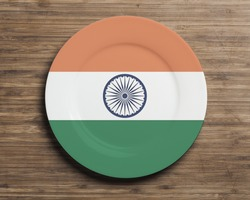 Plate on table with overlay flag of India