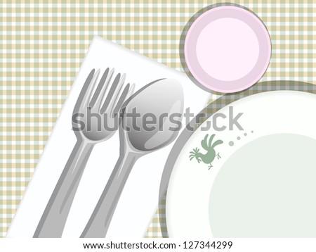 plate spoon fork glass on pattern