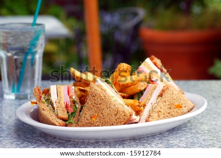 DOMINGO 26 DE FREBRERO Stock-photo-plate-with-a-club-sandwich-and-french-fries-at-an-outdoor-cafe-15912784