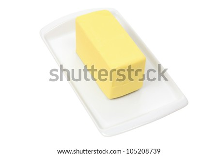 Plate with Butter on White Background