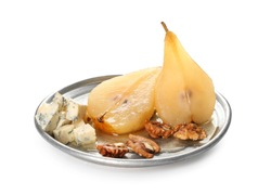 Plate with cheese and sweet pear stewed in wine on white background