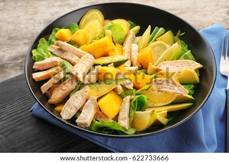Plate with chicken salad, closeup #622733666