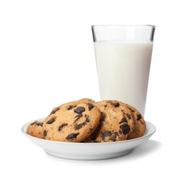 Plate with chocolate chip cookies and glass of milk on white background