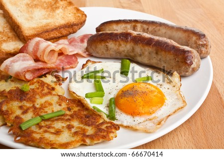 plate with classic fried egg, hash browns and bacon breakfast on a wooden table
