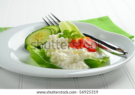 Plate with cottage cheese and fresh vegetables.