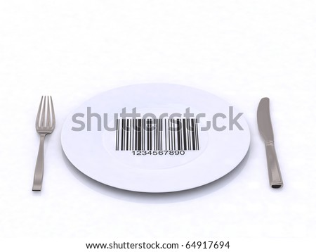 plate with fork, knife and bar code