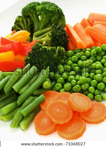 Plate with fresh healthy vegetables. Shallow dof.
