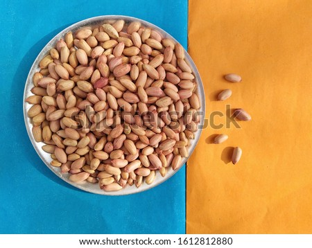 Plate with groundnuts  top view