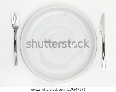 plate with knife and fork and cigarette