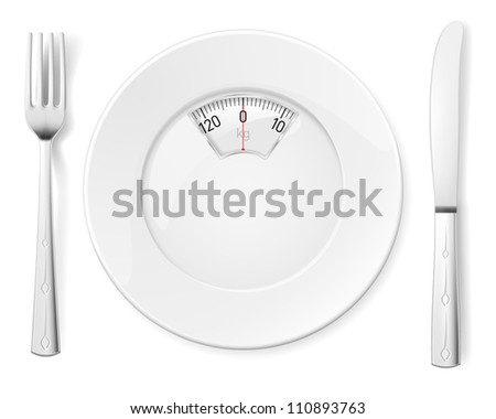 Plate with knife and fork and Scale for a Weighing Machine