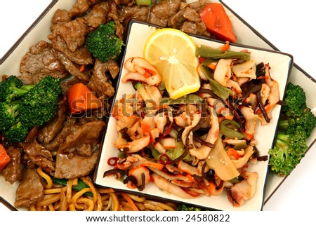 ... Lo Mein, Beef, Carrots, Brocolli and Squid Seaweed Salad - stock photo