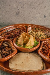 Plate with multiple edible insects, traditional Mexican food, among the dishes are escamoles, grasshoppers, chinicuiles, maguey worms, guacamole with tortilla chips and tortillas