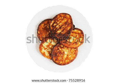 Plate with pancakes. Isolated on white. Top view