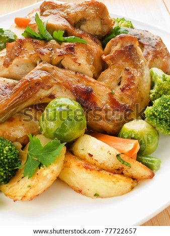 Plate with roasted rabbit and vegetable garnish. Shallow dof.
