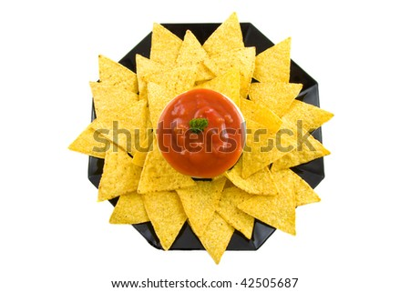 Plate with sauce and tortilla chips isolated over white