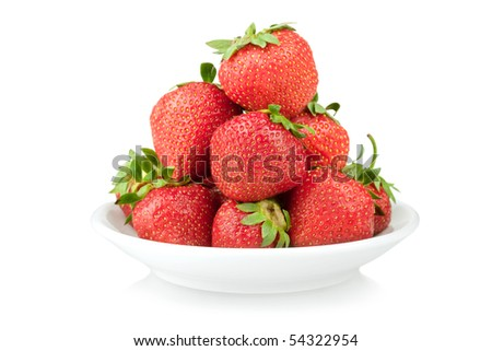 Plate with strawberry. Isolated on white background