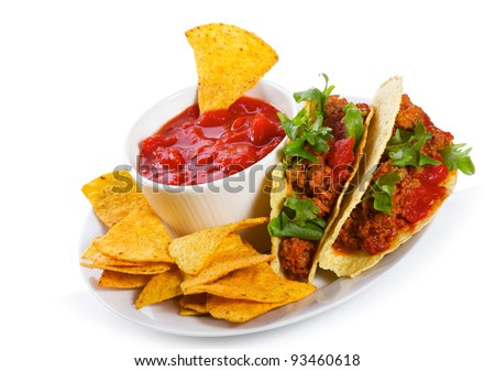 plate with taco, tortilla chips and tomato dip on white background