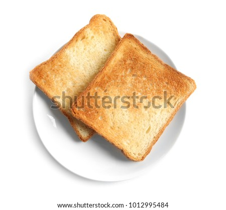 Plate with toasted bread on white background ストックフォト ©