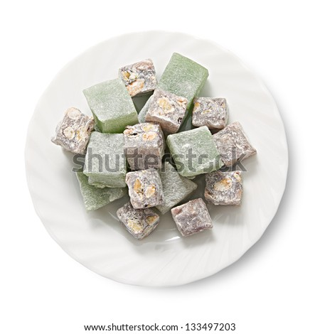 Plate with turkish delight, view from above