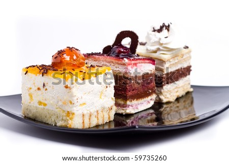 Plate with 3 types of cakes