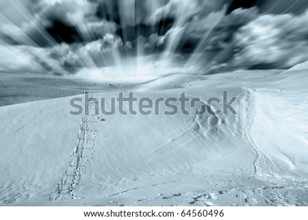 plateau covered with frozen snow under blue sky