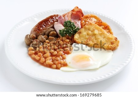 plated full english breakfast on white plate