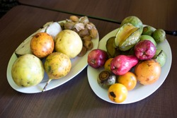 Plates full of exotic Costa Rican fruits