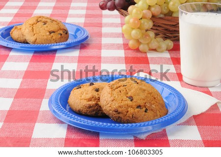 Plates of chocolate chip cookies with milk on a picnic table