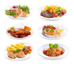 plates of various meat, fish and chicken  on white background