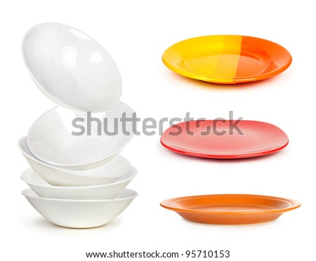 plates set isolated on a white background